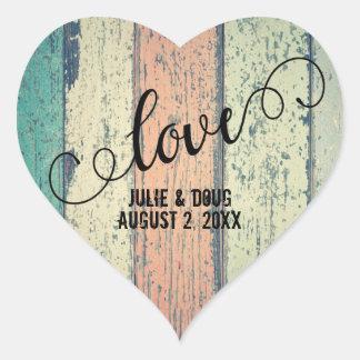 Sticker Cœur Amour en bois rustique