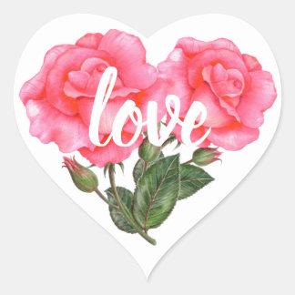 Sticker Cœur Amour floral d'illustration de rose de rose