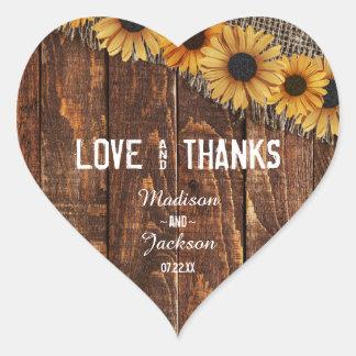 Sticker Cœur Amour rustique de mariage en bois et de toile de