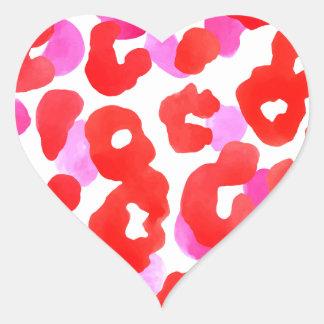 Sticker Cœur Amour sauvage de rouge d'ethno de jaguar