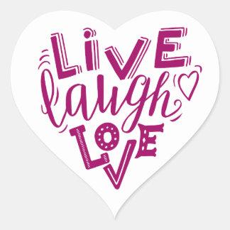 Sticker Cœur Amour vivant de rire - citation de lettrage de