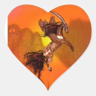 Sticker Cœur Animal sauvage à ailes de Brown de poney de cheval