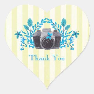 Sticker Cœur Appareil-photo avec le Merci de feuille bleu et de