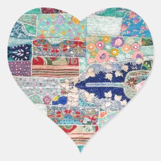 Sticker Cœur Aqua et conception bleue de tapisserie d'édredon