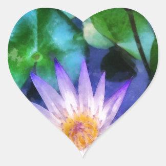 Sticker Cœur Aquarelle pourpre de Lotus