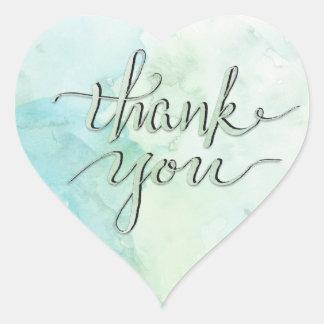 Sticker Cœur Aquarelles et vert de Merci d'encre beau
