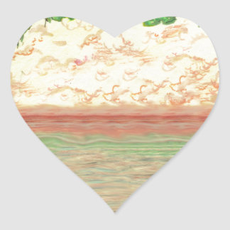 Sticker Cœur Arbres et océan