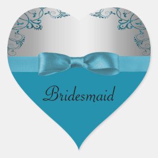 Sticker Cœur Argent et mariage bleu turquoise de Scrollwork