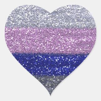 Sticker Cœur Argent scintillant de Faux, rose, coeur bleu
