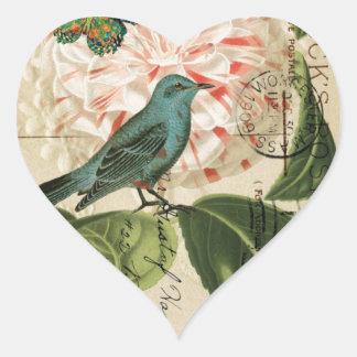 Sticker Cœur Art botanique français de camélia vintage chic