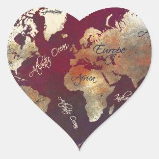 Sticker Cœur art de carte du monde
