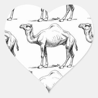 Sticker Cœur Art de troupeau de chameau