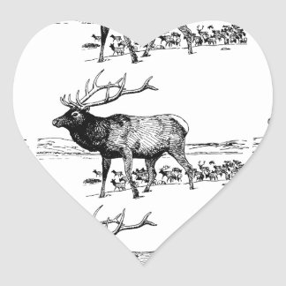 Sticker Cœur art de troupeau d'élans ouais