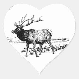 Sticker Cœur art d'élans dans le cadre
