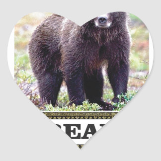 Sticker Cœur art d'étiquette d'ours noir
