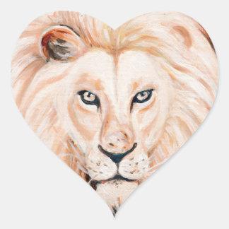 Sticker Cœur Art fort d'huile de portrait de lion