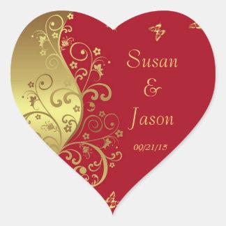 Sticker Cœur Autocollants--Remous de rouge et d'or