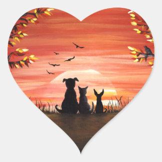 Sticker Cœur Automne de chien et de chat de coucher du soleil