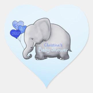 Sticker Cœur Baby shower magnifique de garçon bleu d'éléphant
