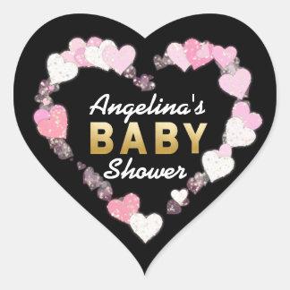 Sticker Cœur Baby shower rose noir unique et moderne de coeurs