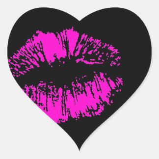 Sticker Cœur Baiser au néon sur le coeur noir
