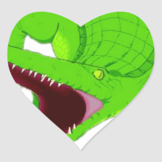 Sticker Cœur bande dessinée d'alligator