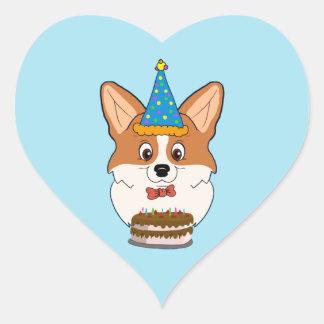Sticker Cœur Bande dessinée de corgi de Gallois d'anniversaire