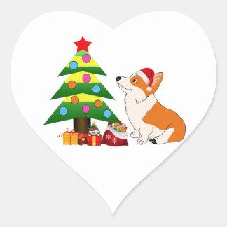 Sticker Cœur Bande dessinée de corgi de Gallois de vacances