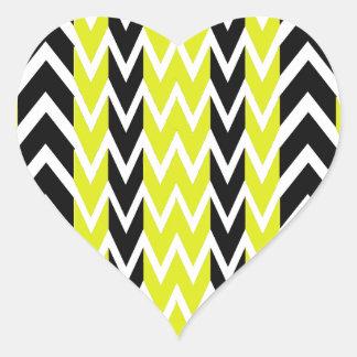 Sticker Cœur Battements de coeur noirs et jaunes