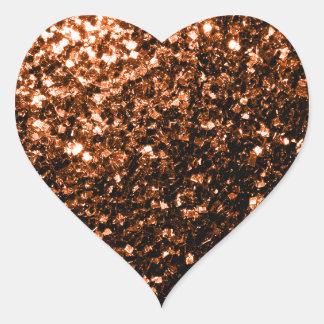 Sticker Cœur Beau Brown orange en bronze scintille des