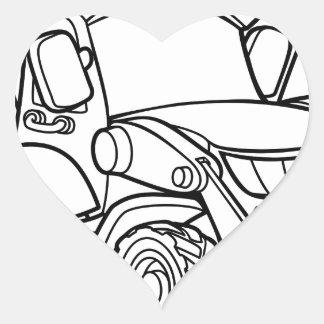 Sticker Cœur Bêcheur de bouteur de véhicule de bande dessinée