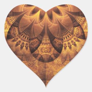 Sticker Cœur Belle ruche de fractale de nid d'abeilles d'or et