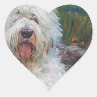Sticker Cœur Belle vieille peinture anglaise d'art de chien de
