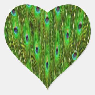 Sticker Cœur Belles plumes de paon