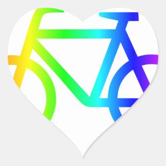 Sticker Cœur Bicyclette 3 d'arc-en-ciel