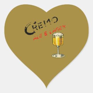 Sticker Cœur Bière de bière anglais de Cremo et blonde