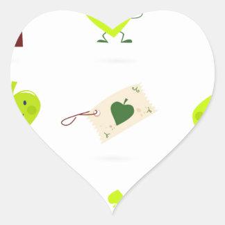 Sticker Cœur Bio vert mignon d'icônes d'enfants