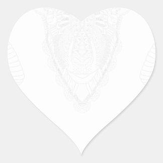 Sticker Cœur Blanc de style de mandala de dessin de RAM