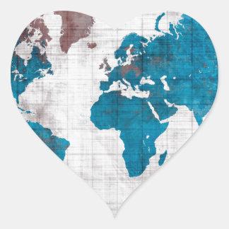 Sticker Cœur bleu blanc de carte du monde