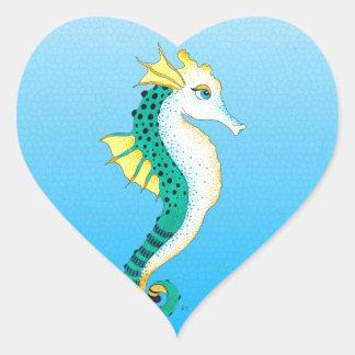 Sticker Cœur bleu turquoise d'hippocampe