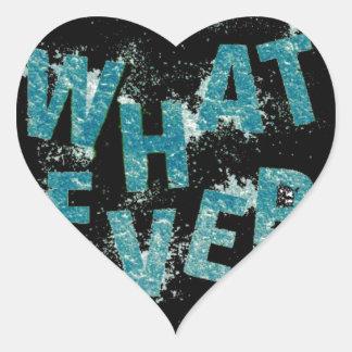 Sticker Cœur Bleu turquoise quoi que