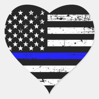 Sticker Cœur Blue Line mince marquent l'autocollant de coeur
