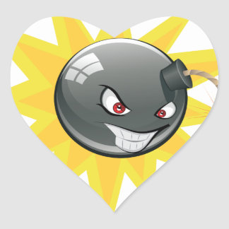 Sticker Cœur Bombe ronde mauvaise