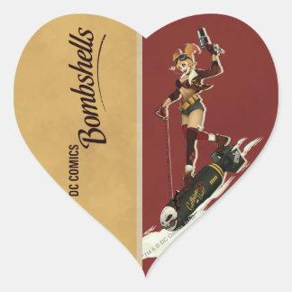 Sticker Cœur Bombes de Harley Quinn de pin-up