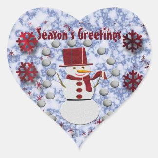 Sticker Cœur Bonhomme de neige gai d'alto