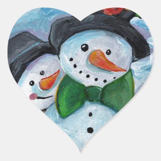 Sticker Cœur Bonhommes de neige de visite cardinaux