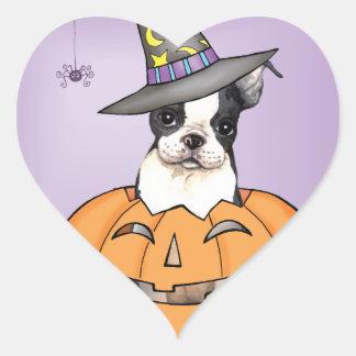 Sticker Cœur Boston Terrier Halloween
