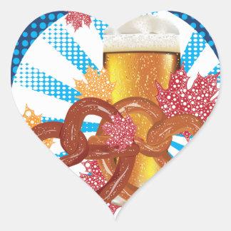 Sticker Cœur Bretzel de bande dessinée avec de la bière