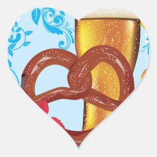 Sticker Cœur Bretzel de bande dessinée avec de la bière 3
