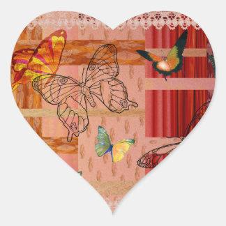 Sticker Cœur butterfly